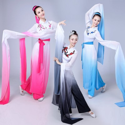 Chinese ancient folk dance costumes for women blue black pink gradient colored water fall sleeves fairy yangko fan dancing long dresses