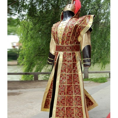 Chinese Ancient soldier hanfu general warrior swordsmen cosplay costumes for men's  armor drama performance flower magnolia costume