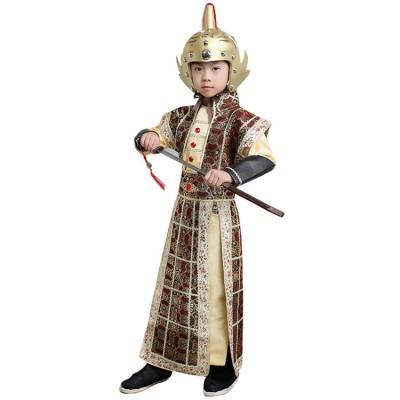 Chinese ancient traditional boy stage performance costumes hanfu children warrior swordsmen emperor guards general cosplay robes dresses