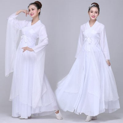 Chinese ancient traditional dance dresses hanfu princess white color drama classical stage performance cosplay robes clothes
