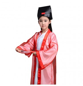 Chinese ancient traditional hanfu dresses for boys girls Children's three-character scriptures school performance cosplay costumes