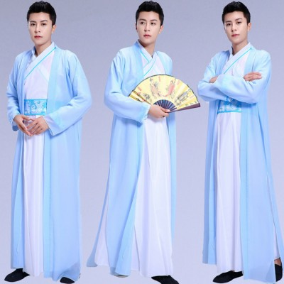 Chinese ancient traditional hanfu for men's warrior swordsmen costumes male heroes knights talented scholars elegant robes