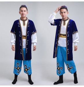 Chinese ancient traditional  performance costumes men Uighur Minority Mongolian Kazakh Costumes dance robes  Xinjiang Dance Costumes
