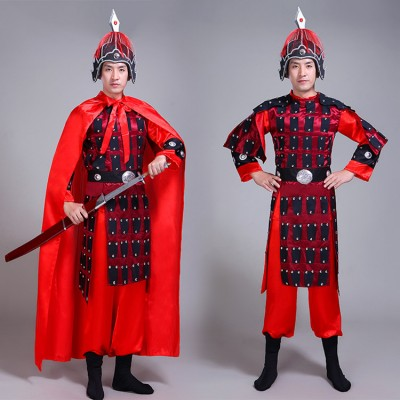 Chinese Ancient traditional soldier costumes for male men's armor drama general warrior swordsmen stage performance cosplay costumes