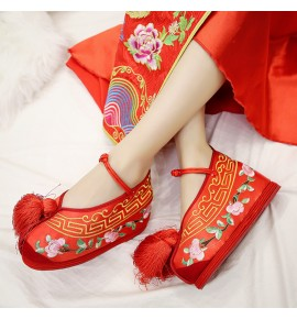 Chinese brides Cosplay folk dance red embroidered shoes inner heel stage performance thousand layers pecking shoes  6.5cm heel