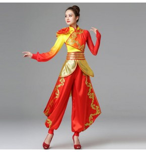 Chinese dragon dance costumes for women chinese folk drummer square yangko dance costumes