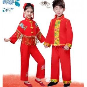 Chinese dragon drummer performance costumes for boy girls Children's Chinese knot Yangko clothing children's drum costume, opening ceremony red dance performance dress