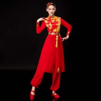 chinese dragon Waist drum dance costume for men and women Chinese geomantic Dance Dragon Lion Dance Yangko Costumes