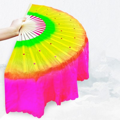 Chinese folk dance accessories yangko fan dace fan rainbow colored belly dance veil fan one piece