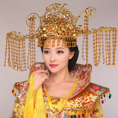 Chinese folk dance Ancient costume hair accessories princess tang queen phoenix crown head wear stage photo studio photography jewelry