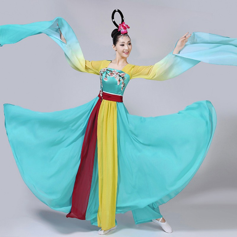 Chinese folk dance costume for women turquoise gradient fairy ancient traditional hanfu performance princesses drama photos coplay dancing dresses