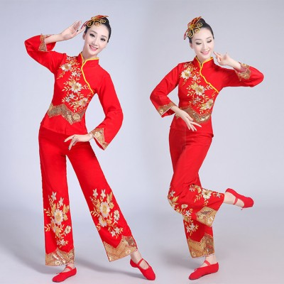 Chinese folk dance costumes ancient china style yangko dragon drummer competition stage performance dresses