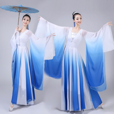 Chinese folk dance costumes ancient traditional dance hanfu royal blue gradient colored fairy drama anime cosplay stage performance dresses