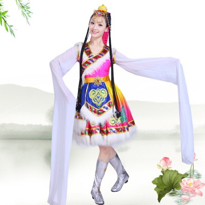 Chinese folk dance costumes ancient traditional Mongolian tibet stage performance dresses  robes