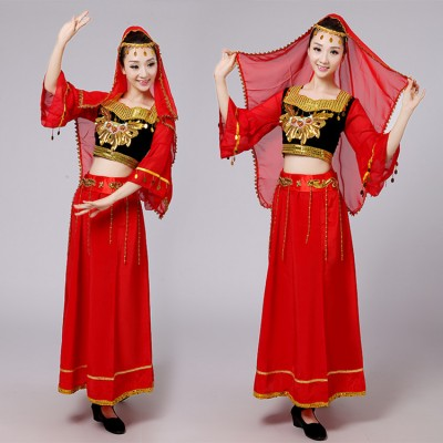 Chinese Folk Dance Costumes Ancient Traditional National Minority Xin Jiang Stage Dance Dress Xinjiang Clothing For Women