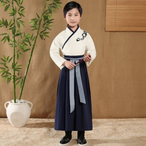 Chinese folk dance costumes ancient traditional studies hanfu for boy kids children drama film photos cosplay performance robes dresses