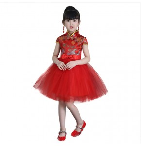 Chinese folk dance costumes china style stage performance dragon damask pattern princess competition evening party dresses