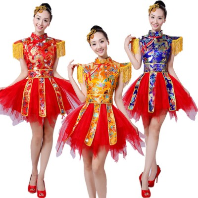 Chinese folk dance costumes dragon red gold royal blue damask drummer yangko fan dancing stage performance photos cosplay dresses