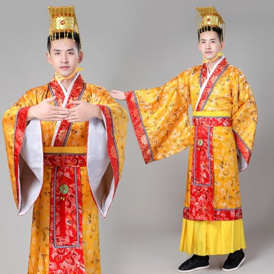 Chinese folk dance costumes Emperor for men's male ancient traditional dragon robes drama cosplay hanfu costumes  Tang Dynasty costumes