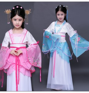Chinese folk dance costumes  fairy dresses girls pink blue anime drama cosplay hanfu princess empress stage performance dress