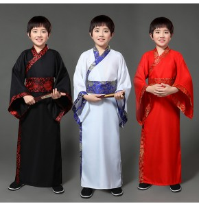 Chinese folk dance costumes for boy children ancient traditional white red black hanfu drama photos cosplay stage performance robes dresses