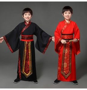 Chinese folk dance costumes for boy children kids red black ancient traditional hanfu  yangko cosplay dresses