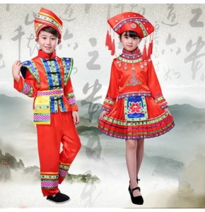 Chinese folk dance costumes for boy girls miao Hmong minority zhuang yi drama cosplay stage performance dresses
