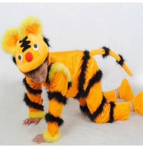 Chinese folk dance costumes for boys tiger dragon drama animal cosplay stage performance clothes for kids children