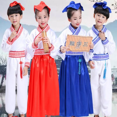 Chinese folk dance costumes for children hanfu ancient traditional stage performance girls boys school competition drama cosplay costumes