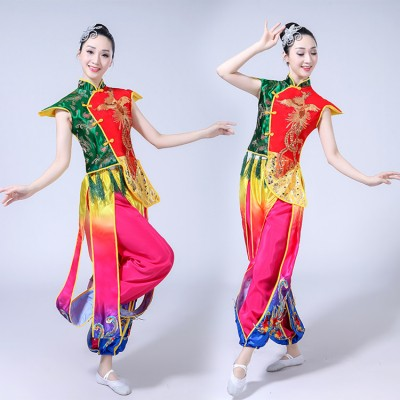 Chinese folk dance costumes for female rainbow drummer performance yangko fan dancing china style competition dance tops and pants