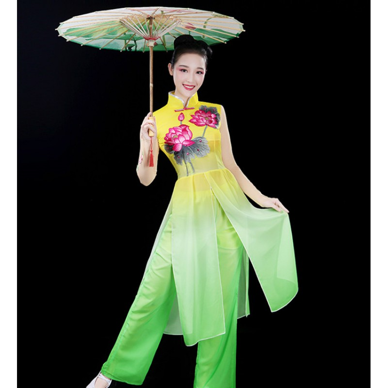 Chinese folk dance costumes for female women stage performance fairy photos cosplay yangko fan yellow green gradient colored competition dresses