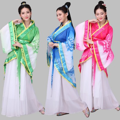 Chinese folk dance costumes for female women's traditional ancient fairy princess tang hanfu yangko drama cosplay dancing dresses