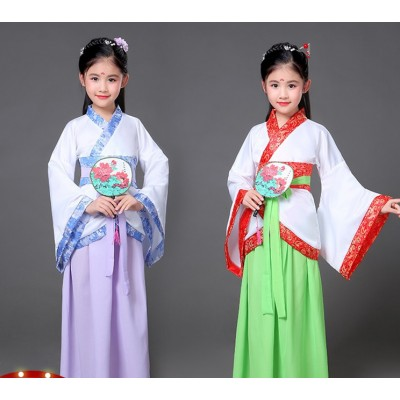 Chinese Folk dance costumes for girls ancient traditional green hanfu fairy anime drama cosplay stage performance competition robes dresses