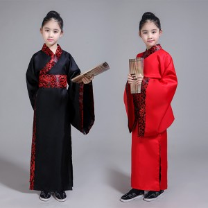 Chinese folk dance costumes for girls boys ancient traditional hanfu stage performance drama cosplay photos dresses robes