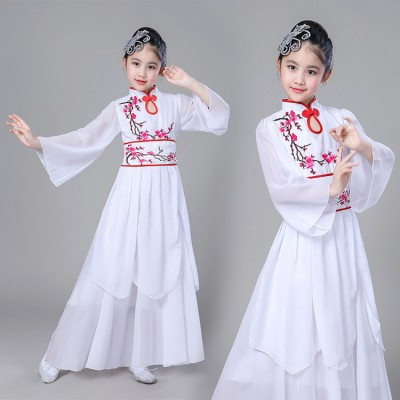 Chinese folk dance costumes for girls children pink blue yangko fan fairy party cosplay classical ancient dance stage performance clothes dresses