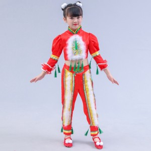 Chinese folk dance costumes  for girls children red colored new year celebration stage performance opening dancing cosplay costumes dresses