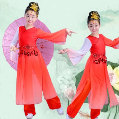 Chinese folk dance costumes for girls children red gradient colored hanfu ancient traditional yangko fairy fan umbrella dance tops and pants