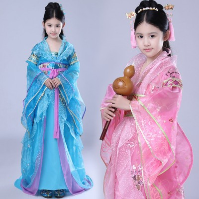 Chinese folk dance costumes for girls kids children ancient traditional dance hanfu fairy photos anime drama photos cosplay kimono dresses