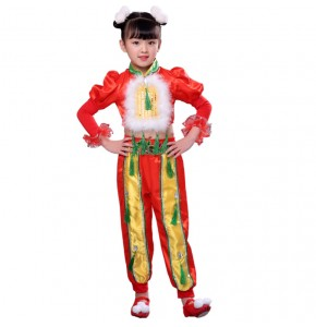Chinese folk dance costumes for girls kids children china style ancient traditional new year celebration opening dancing dresses clothes