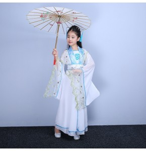 Chinese folk dance costumes for girls kids children fairy tang dynasty princess ancient stage performance drama cosplay dresses