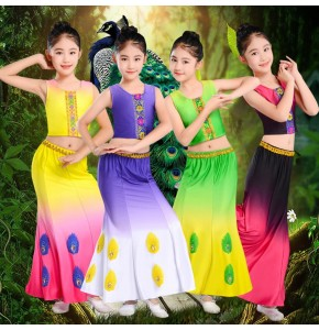 Chinese folk dance costumes for girls kids green pink peacock dance mermaid belly dance stage performance drama cosplay mermaid dresses