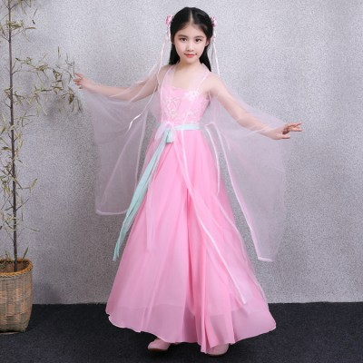 Chinese folk dance costumes for girls pink color ancient traditional fairy princess anime drama photos cosplay stage performance dress robes