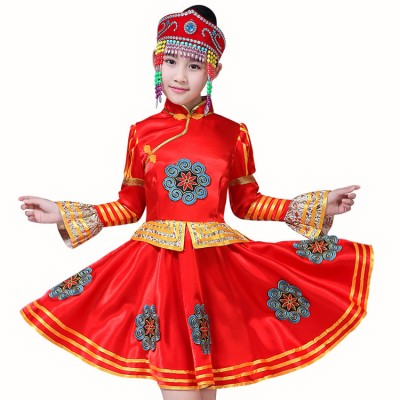 Chinese folk dance costumes for girls red gold national Mongolian dance party show photos dancing robes dresses
