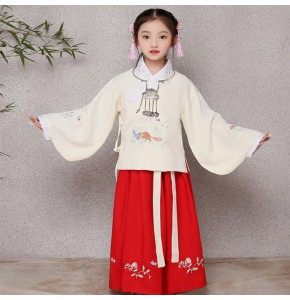 Chinese folk dance costumes for kids child ancient traditional hanfu zither princess stage performance photos cosplay fairy dresses