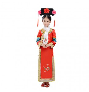 Chinese folk dance  costumes for kids children Qing Dynasty Dramaturgic Dress  Chinese Traditional Ancient Theatrical Robe Dande Wear