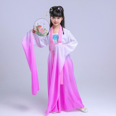 Chinese folk dance costumes for kids girls children hanfu ancient traditional drama fairy yangko waterfall sleeves pink gradient color dresses