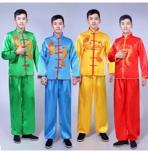 Chinese folk dance costumes  for male men's drummer dragon lion dance ancient traditional stage performance dresses