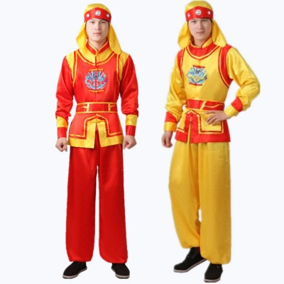 Chinese folk dance costumes for men male lion dragon drummer dance dresses gold red stage performance clothes