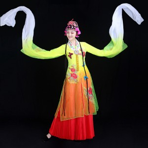Chinese folk dance costumes for women female  ancient traditional Huangmei  pecking opera fancy clothes drama cosplay clothes dancewear