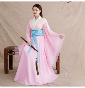 Chinese folk dance costumes for women female girls pink ancient traditional fairy ancient drama princess cosplay dresses